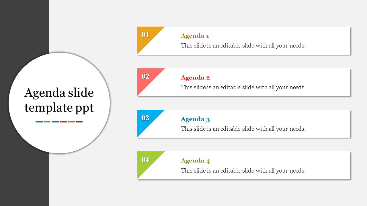 Innovative Agenda Slide Template PPT
