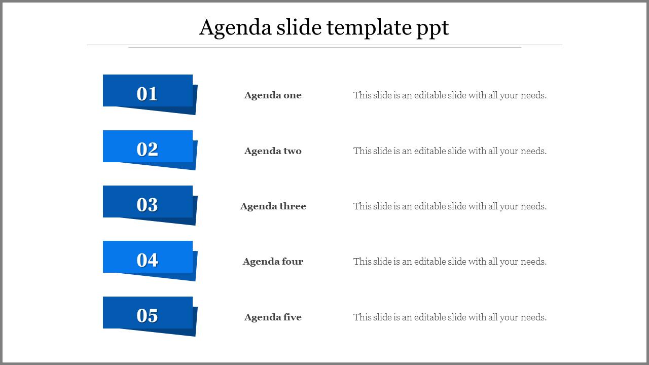 Free - Creative Agenda Slide Template PPT
