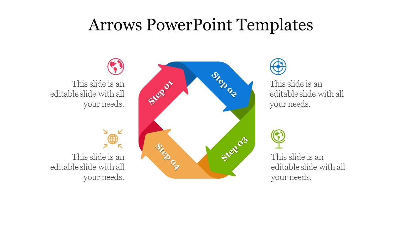 Editable Four Way Multicolor Arrows Powerpoint Templates