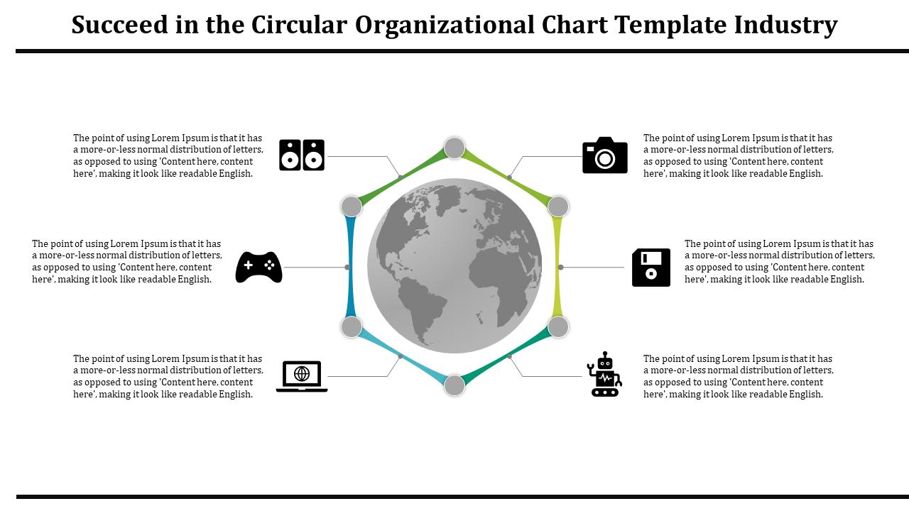 A Six Noded Multi Colored Circular Organizational Chart Template