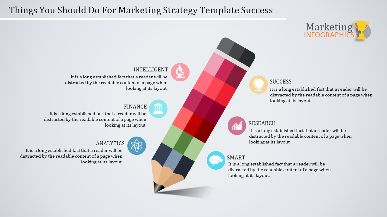 Creative Pencil Model Marketing Strategy Template