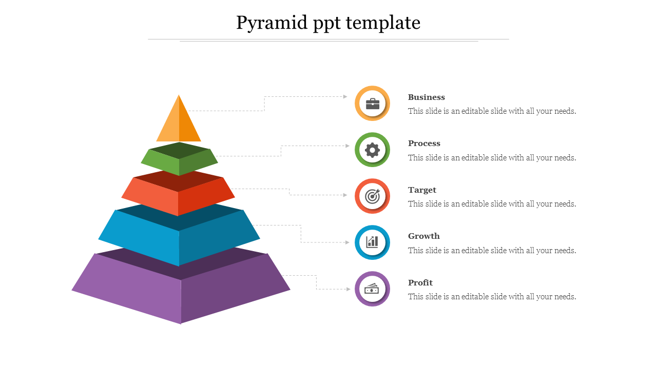 Pyramid PPT Template With Five Nodes