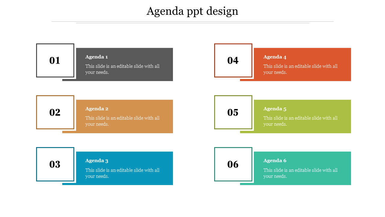 Colorful Agenda PPT Design