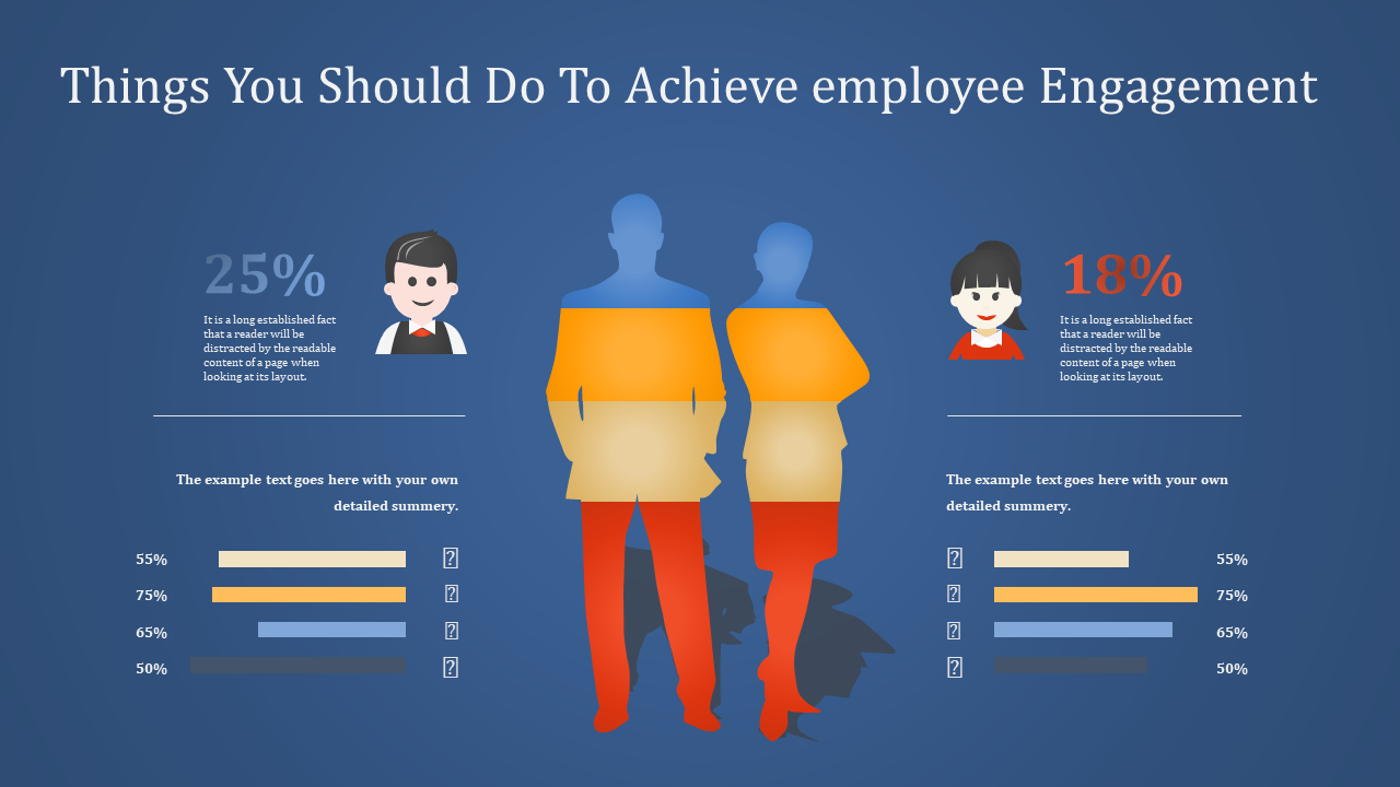 Employee Engagement Powerpoint Blue Background