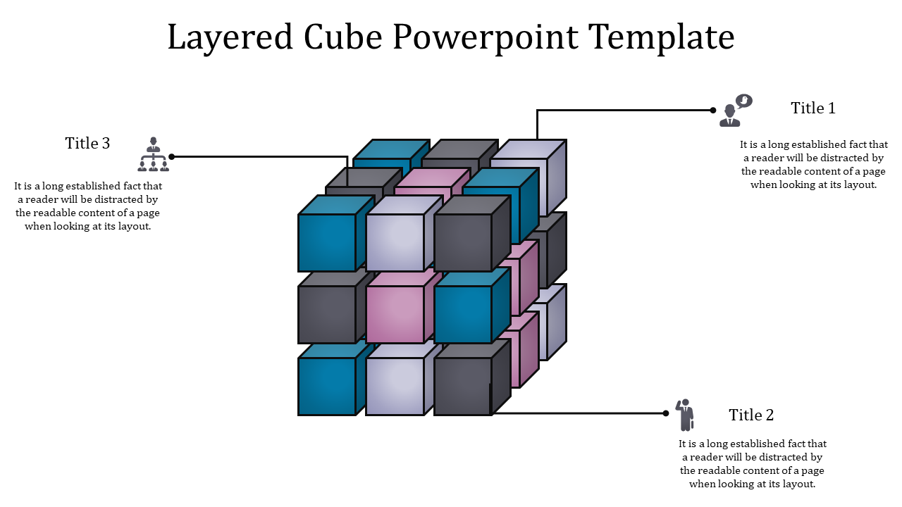Powerpoint Cube Template With Multi Shapes Of Boxes