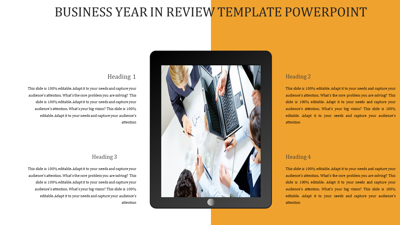 Ipad BUSINESS YEAR IN REVIEW TEMPLATE POWERPOINT