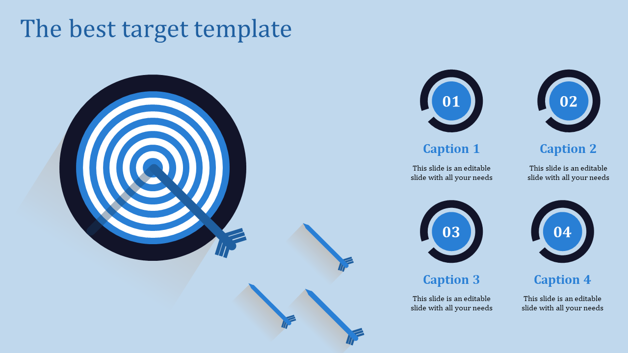 A four noded target template powerpoint