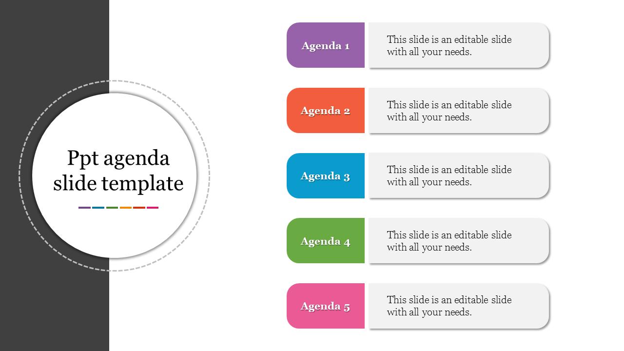 Best PPT Agenda Slide Template