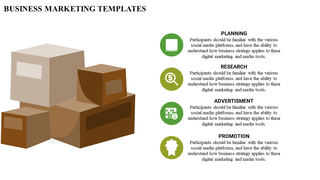 Business And Marketing Plan Template Square Model