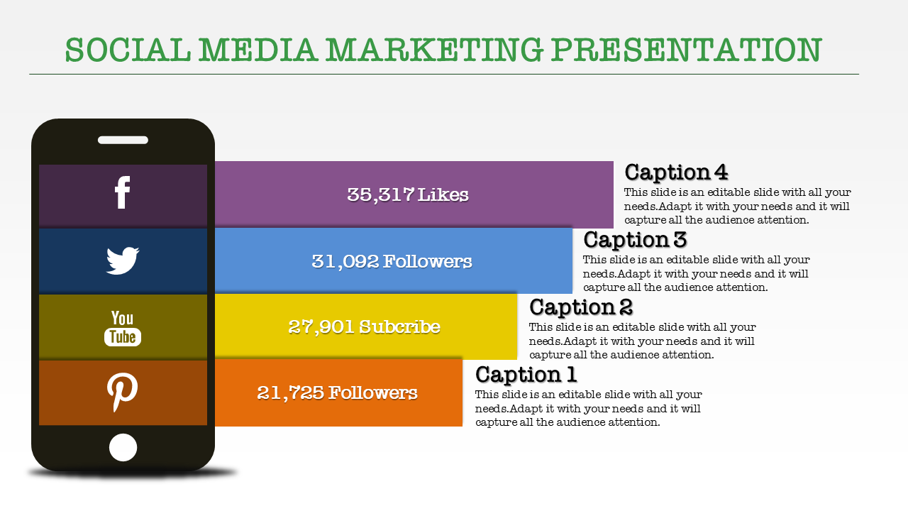 Social Media Marketing Ppt Templates In Mobile Design