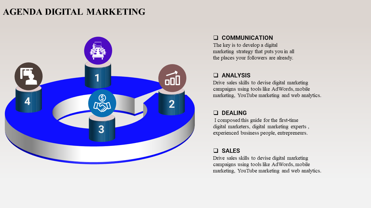 Agenda Ppt Template Digital Marketing - SlideEgg