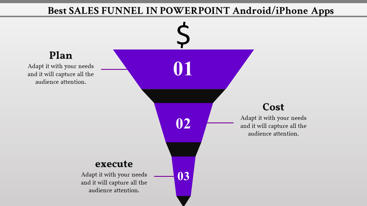 Narrowing Sales Funnel Powerpoint