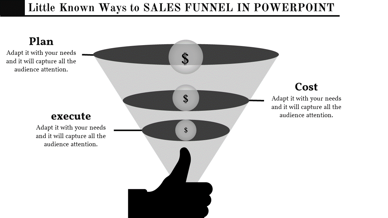 Flat Sales Funnel Template Powerpoint Infographic