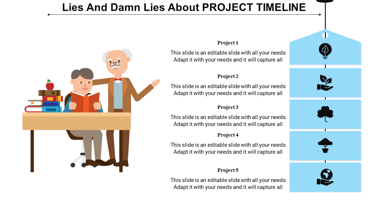 Project Timeline Powerpoint With Human Image