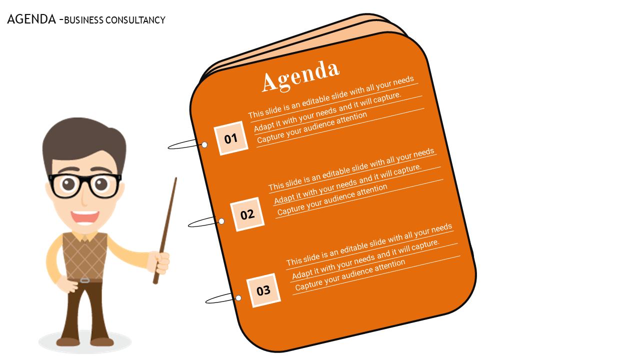 Free - Orange Color Powerpoint Agenda Slide Template