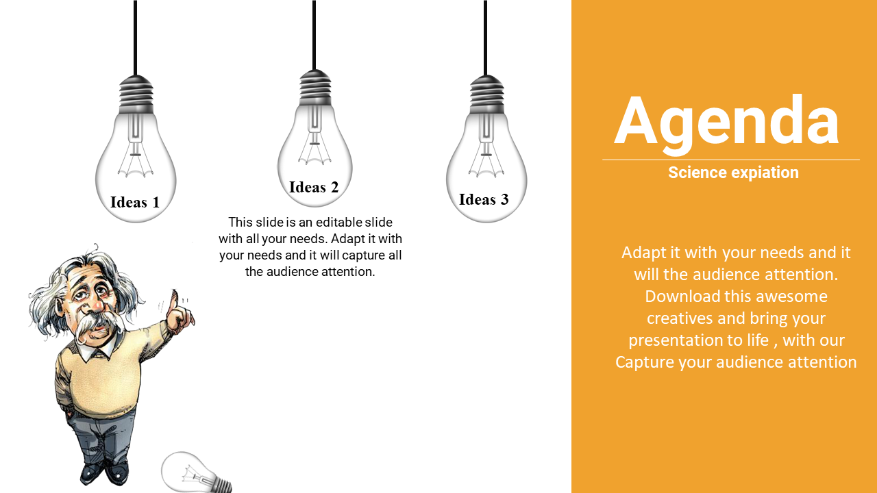 Powerpoint Agenda Slide Template With Bulb Design
