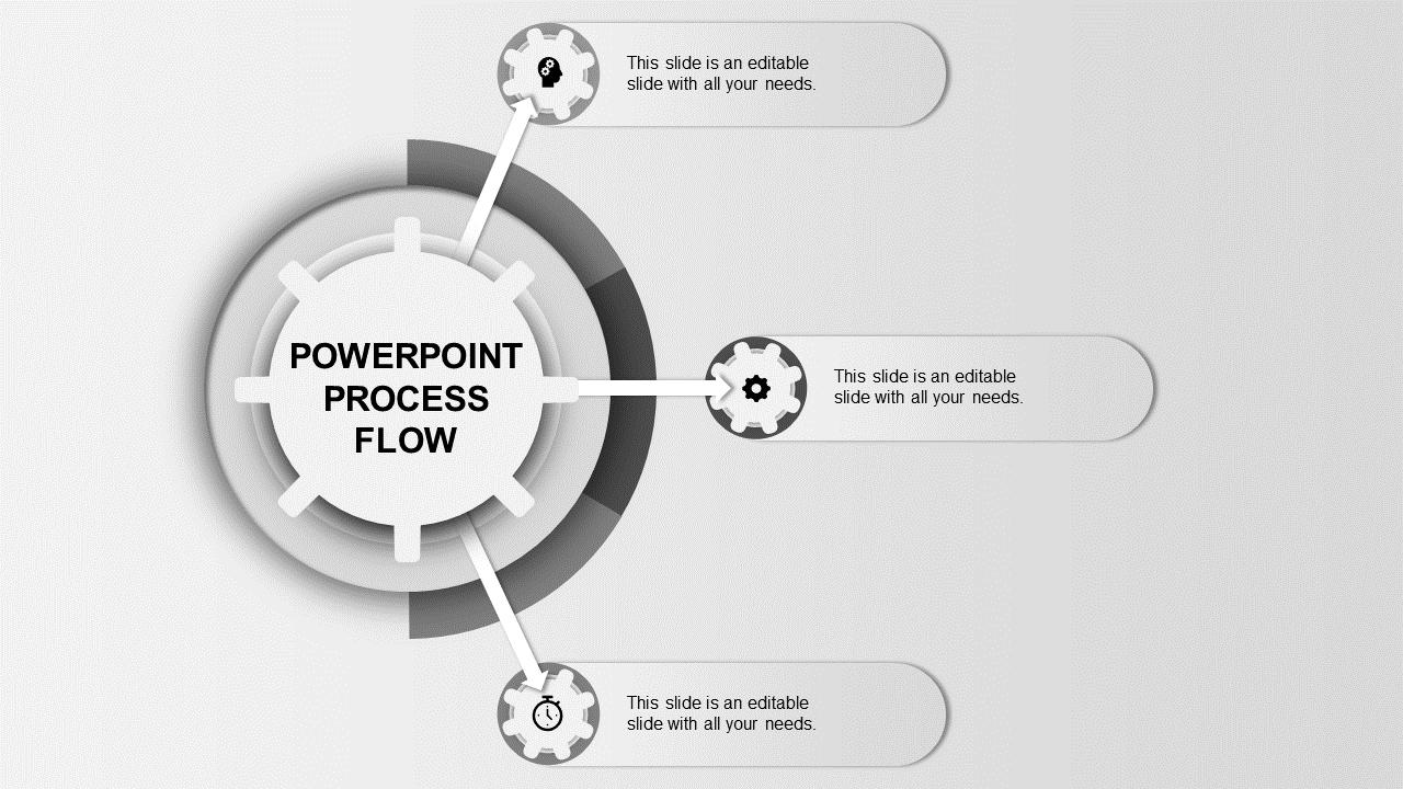 Gearwheel Process Flow Ppt Template 3 Grey