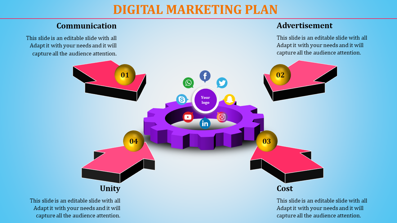 Digital Marketing Plan Powerpoint Template With Gear And Arrow Designs