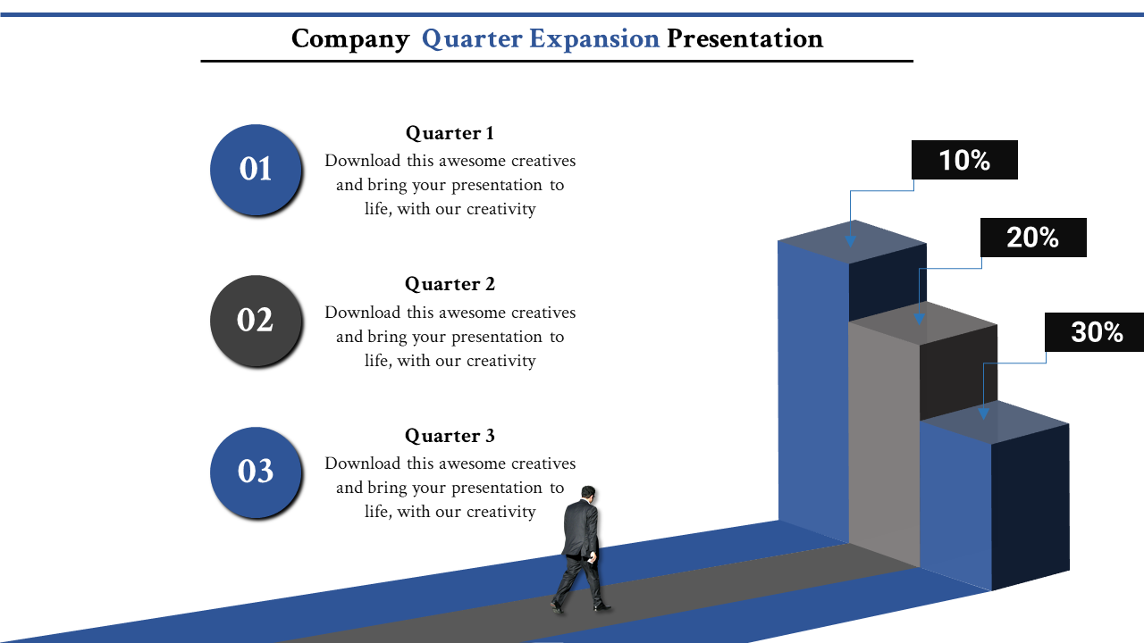 Free -  Annual Report Presentation Powerpoint - Stairs Model
