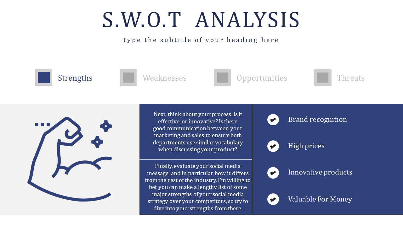 Free - Strength For SWOT Analysis PowerPoint Presentation