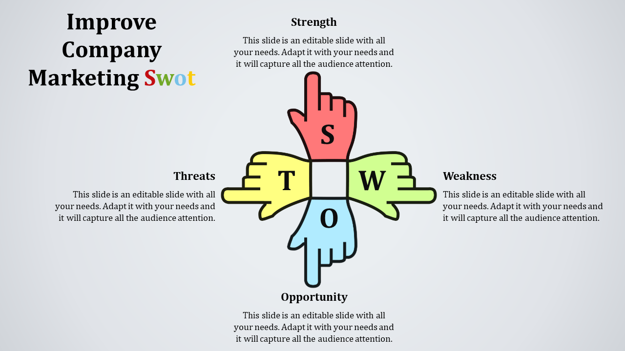 SWOT PowerPoint Template Download-Hand Model