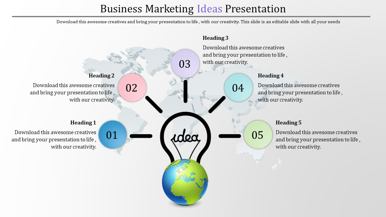 Business Powerpoint Ideas With Bulb And Globe Diagram