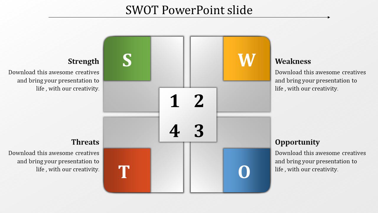 Adhered SWOT PowerPoint Slide