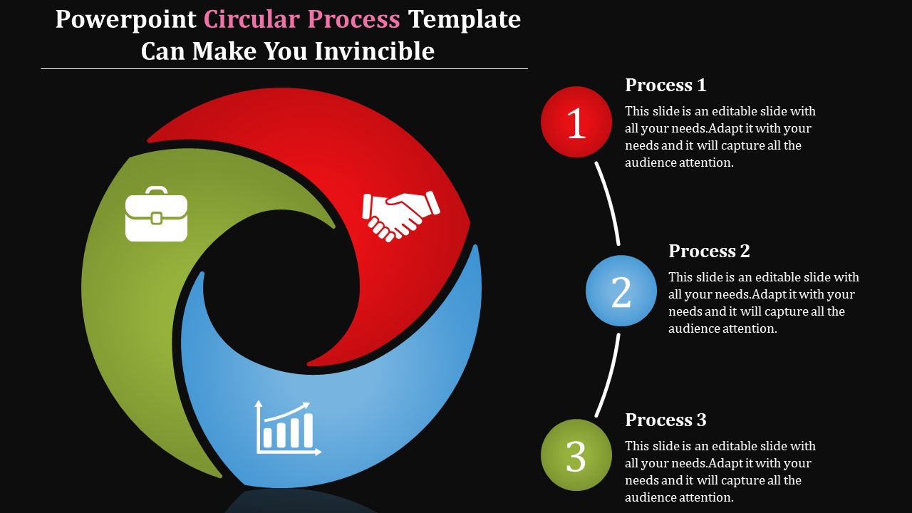 Powerpoint circular process template with dark background