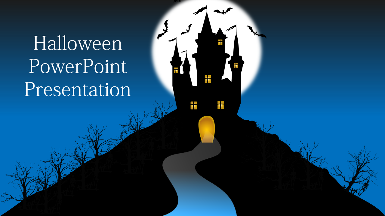 Halloween Powerpoint Template With Haunted House