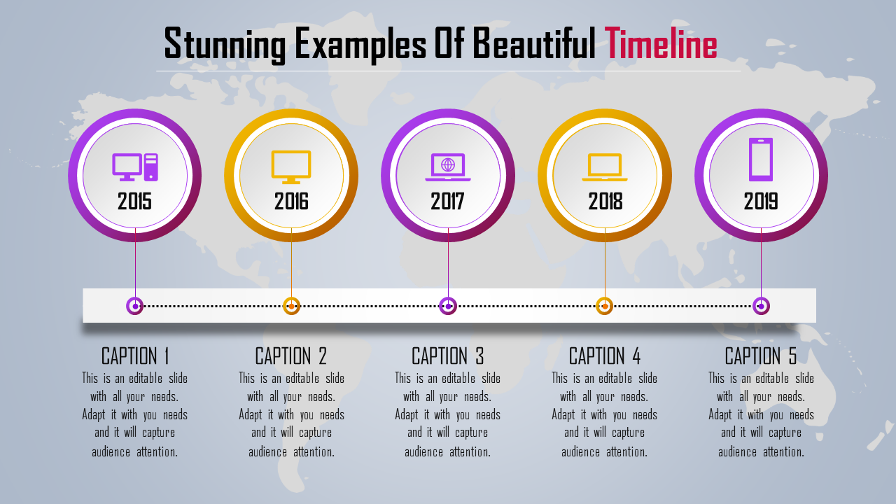 Colorful PowerPoint With Timeline - Map Model