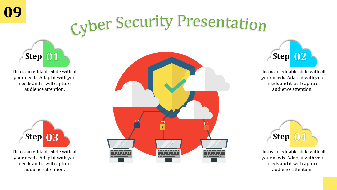 Four Steps Cyber Security Ppt Template - SlideEgg