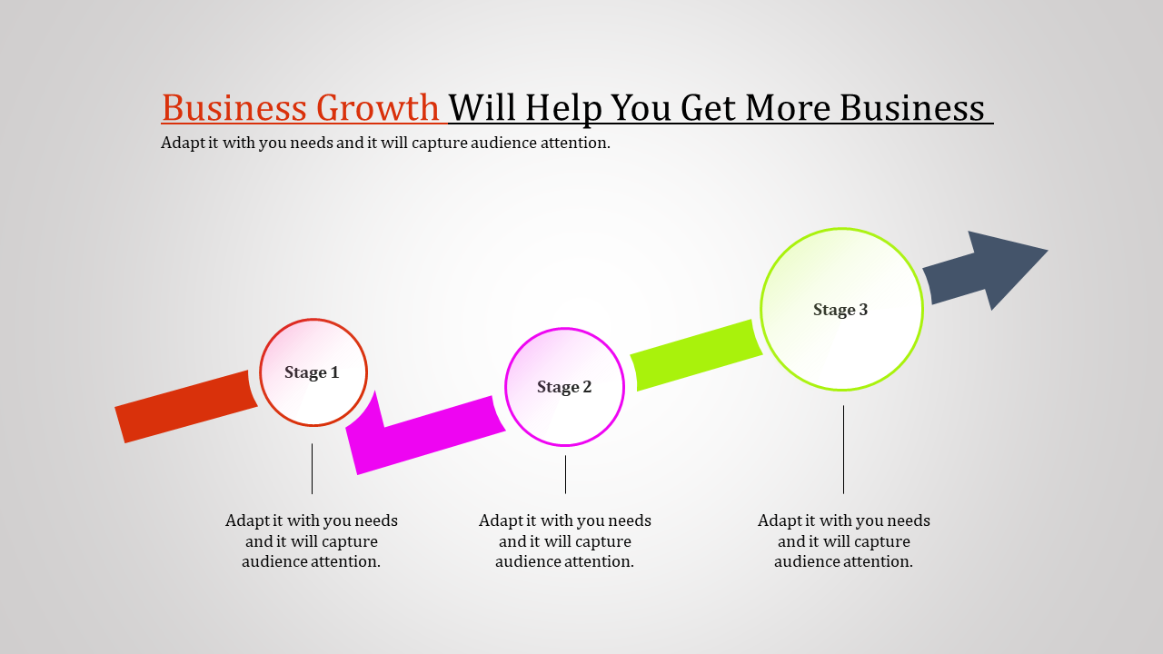 Business Growth PPT Templates-arrow With Four Stage