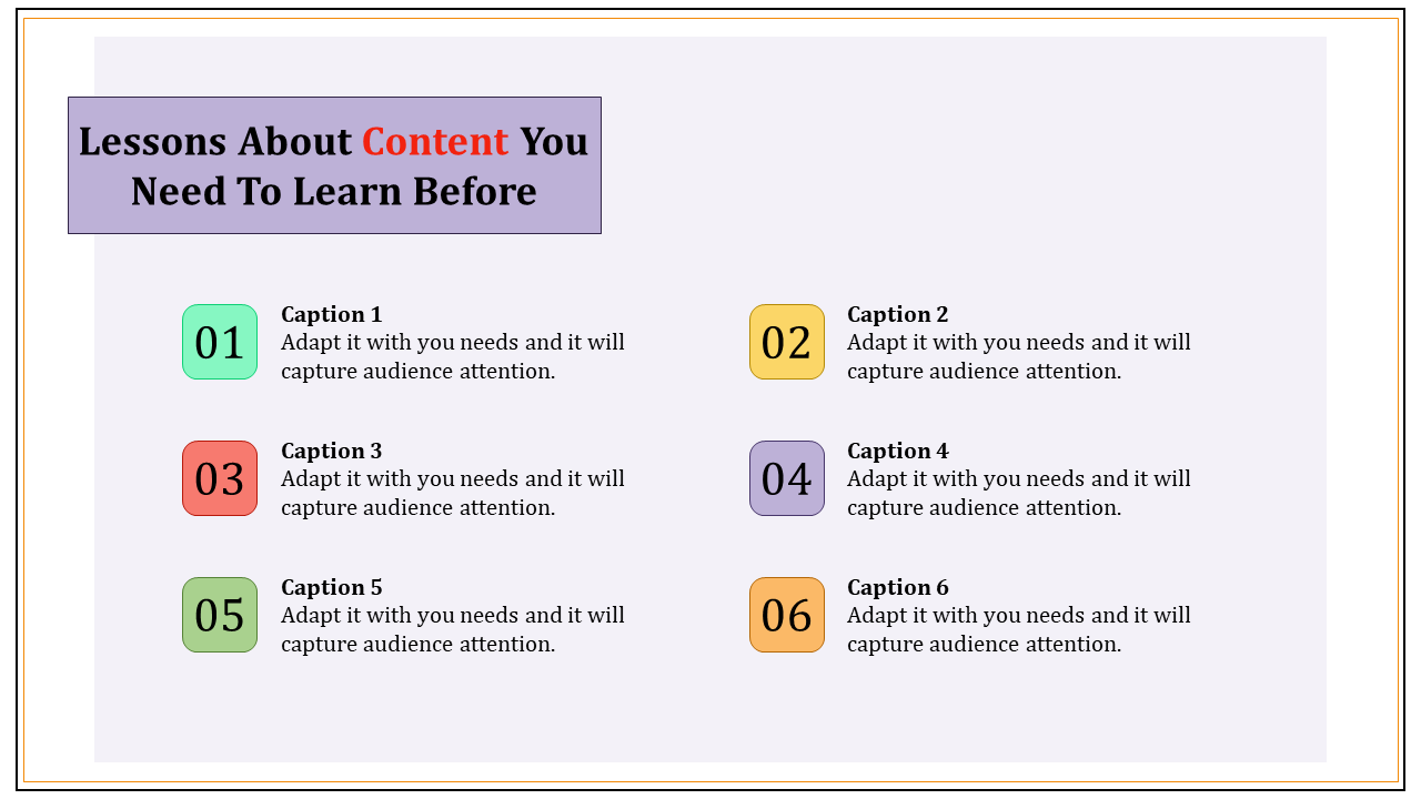 Content Powerpoint Template - Six Stages