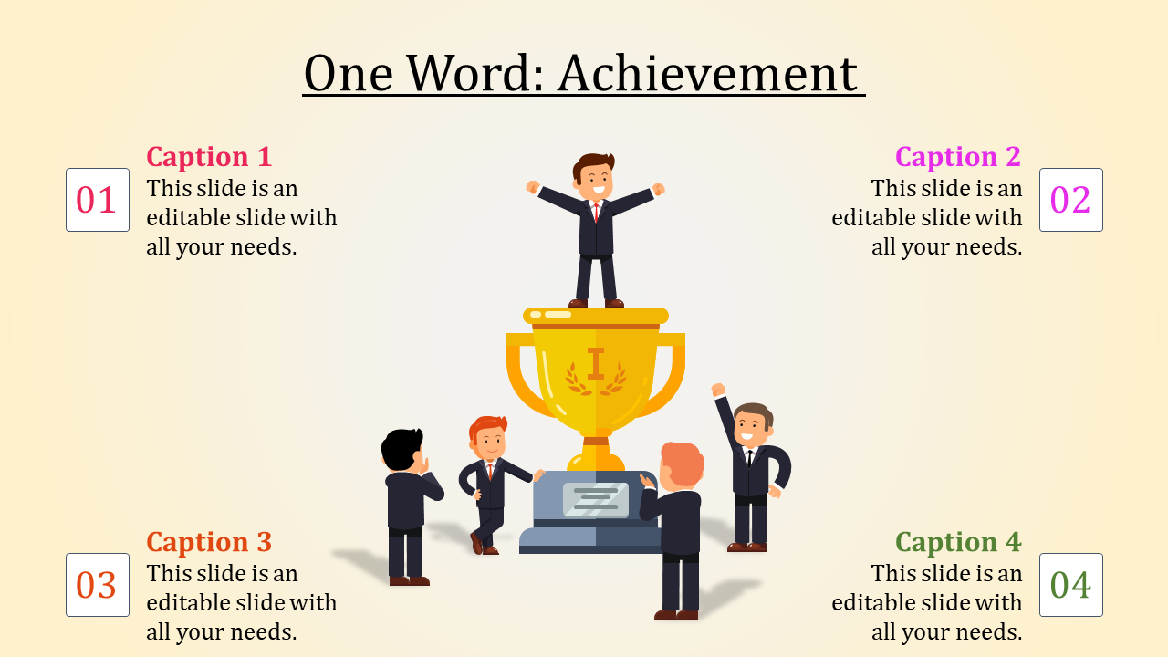 Achievement Slide Template With Award Design