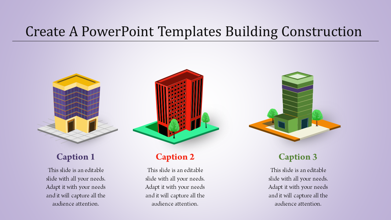 Powerpoint Templates Building Construction Three Buildings