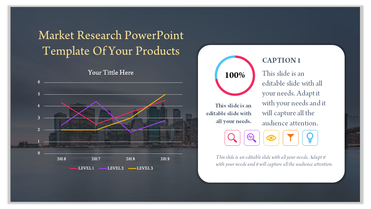 A One Noded Market Research Powerpoint Template