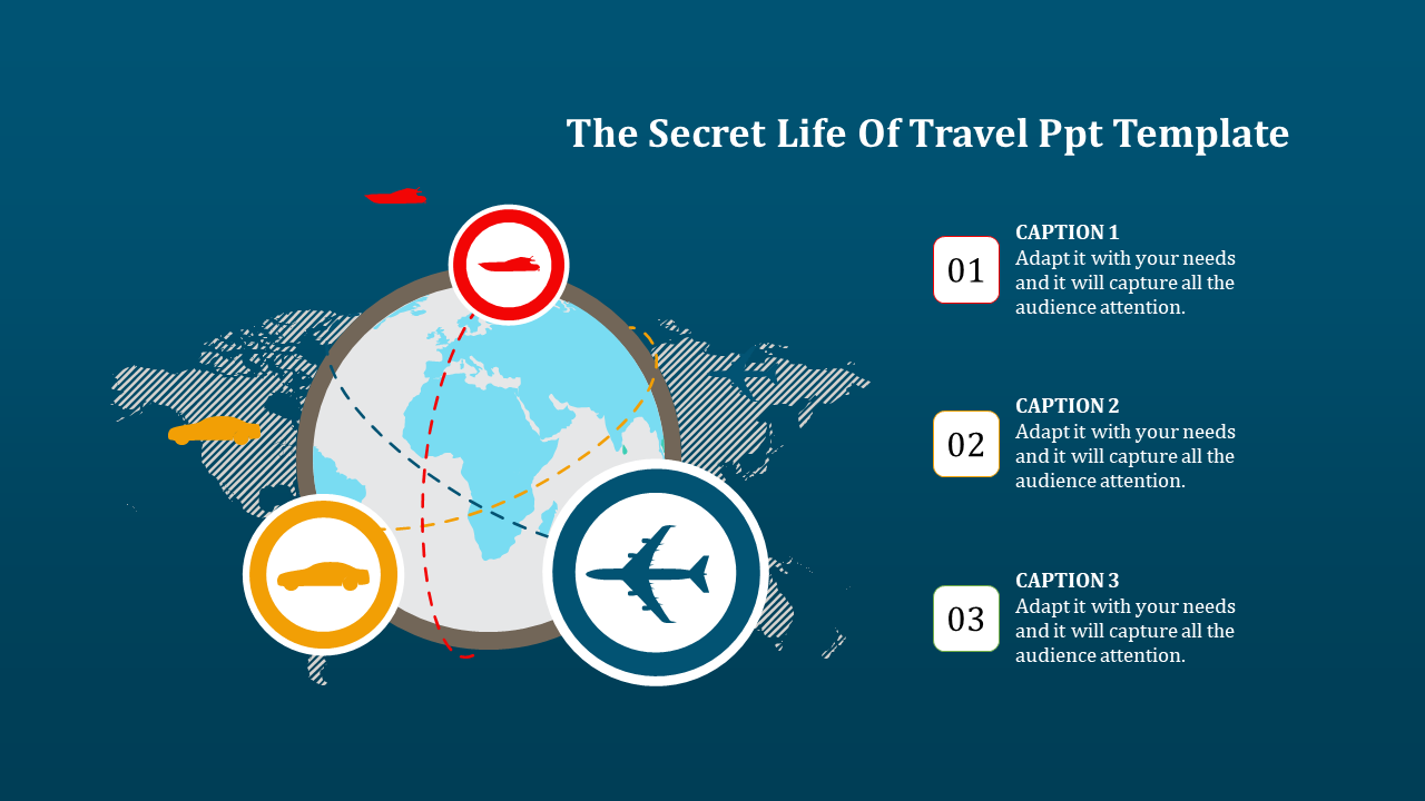 A Three Noded Travel Ppt Template