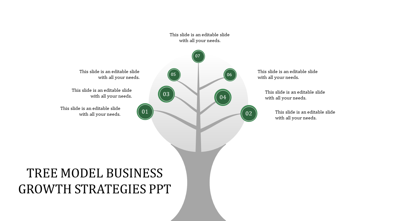 SlideEgg | business growth strategies ppt-tree model business growth