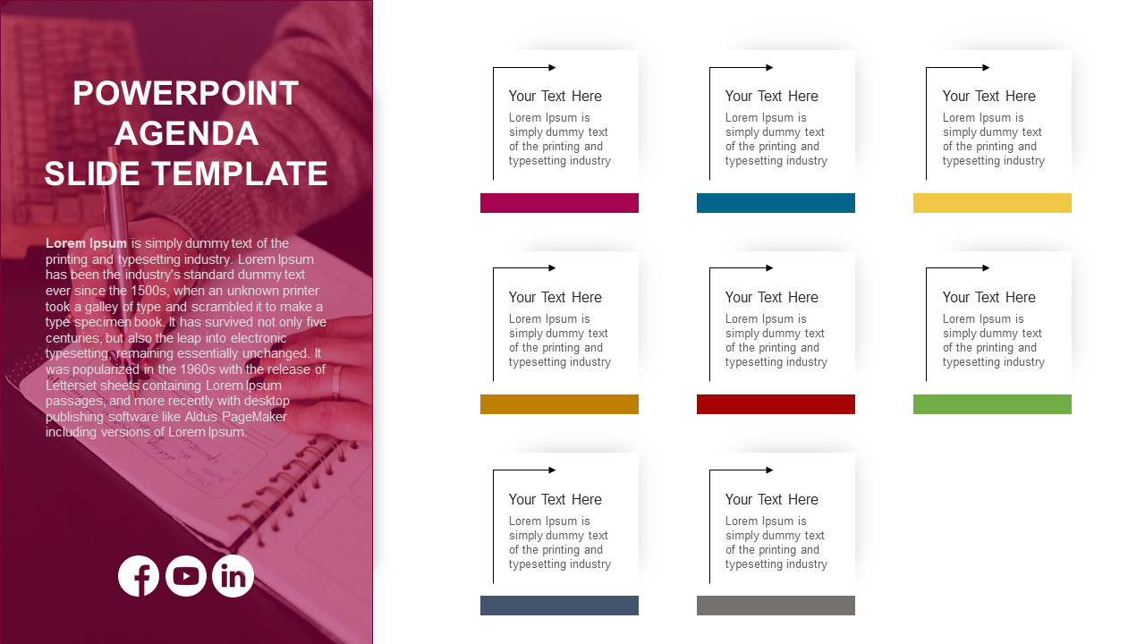 PowerPoint Agenda Slide Template - 8 Noded