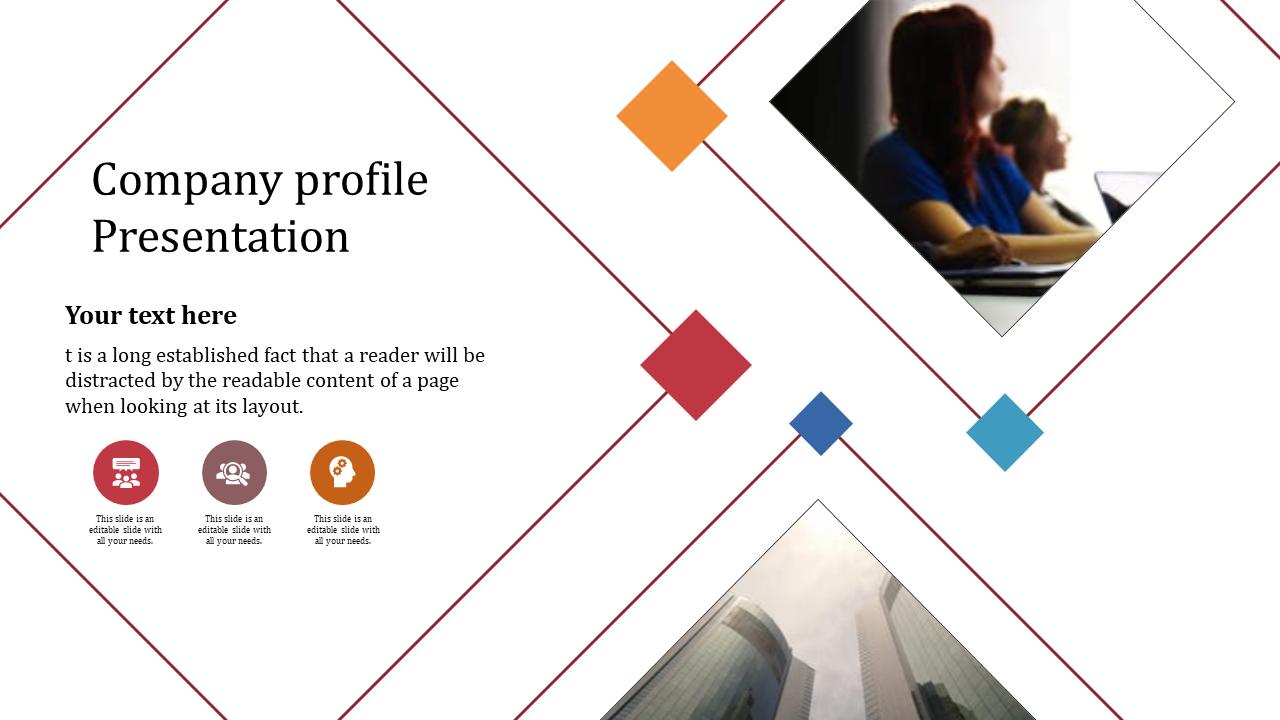 A Three Noded Best Company Profile Presentation PPT