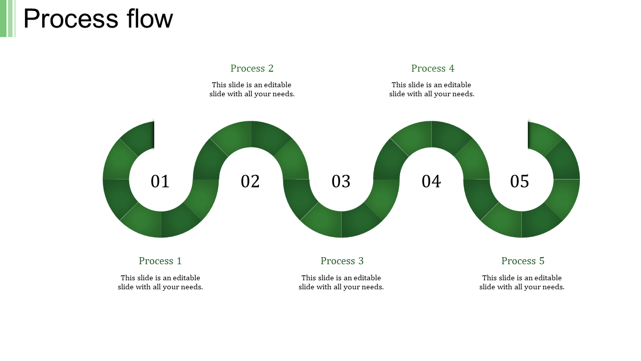 A five noded process flow PPT template