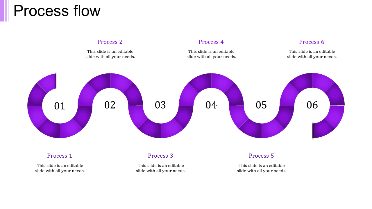 A Six Noded Process Flow PPT Template