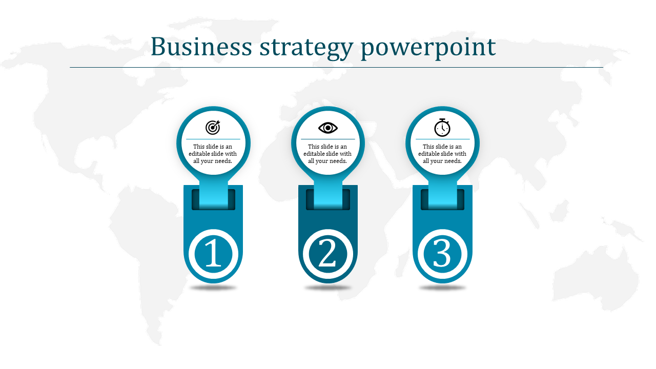 A three noded Business strategy powerpoint