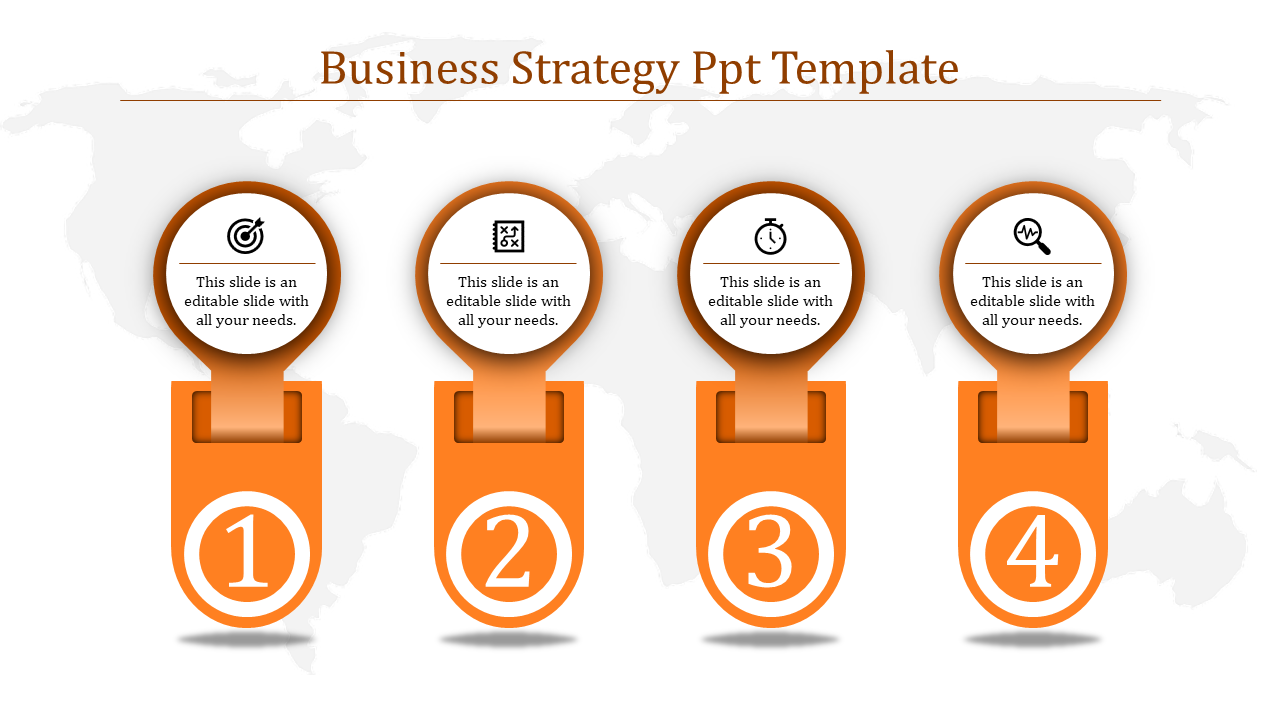 A four noded business strategy PPT template