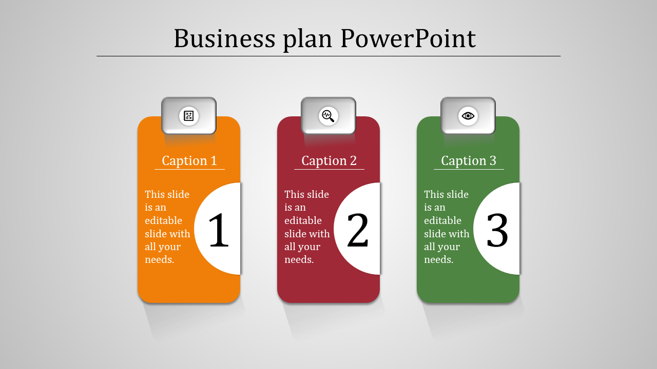 A Three Noded Business Plan Powerpoint