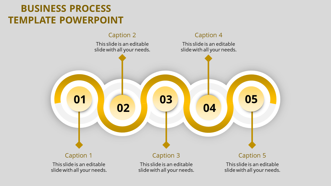 Horizontal flow business process template powerpoint