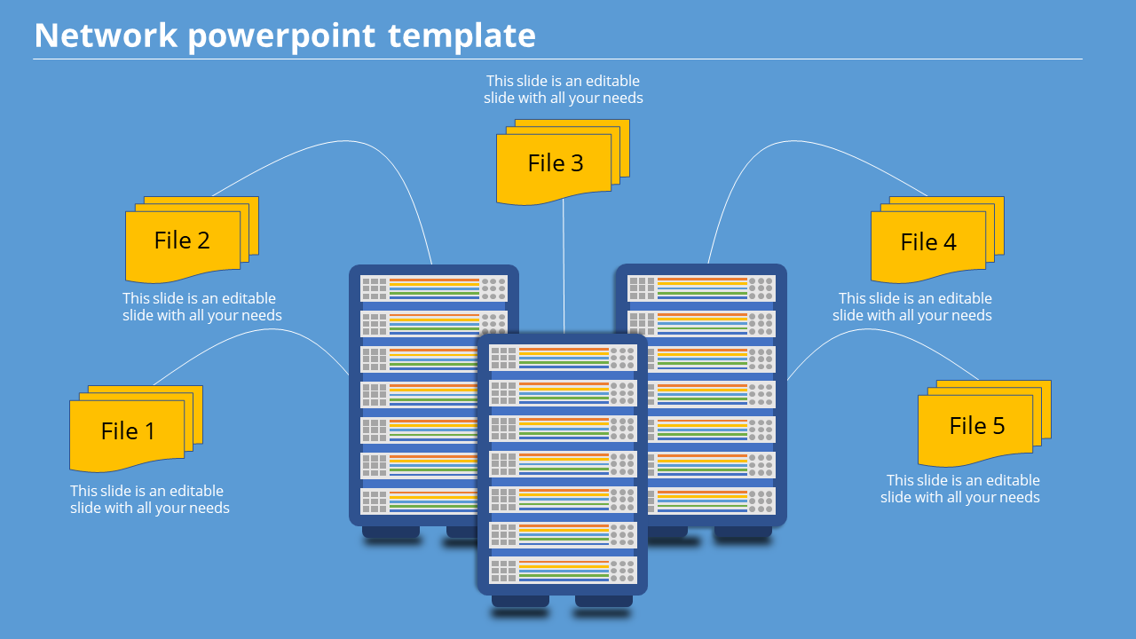 A Five Noded Network Powerpoint Template