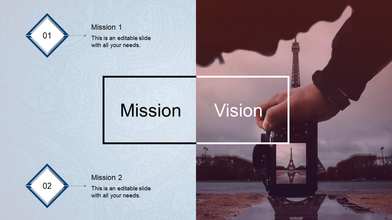A two noded mission vision powerpoint template