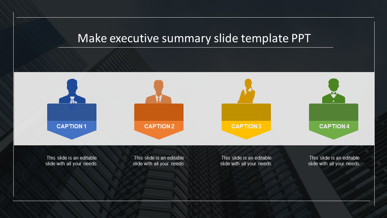 Executive Summary Slide Template Ppt Four Stages