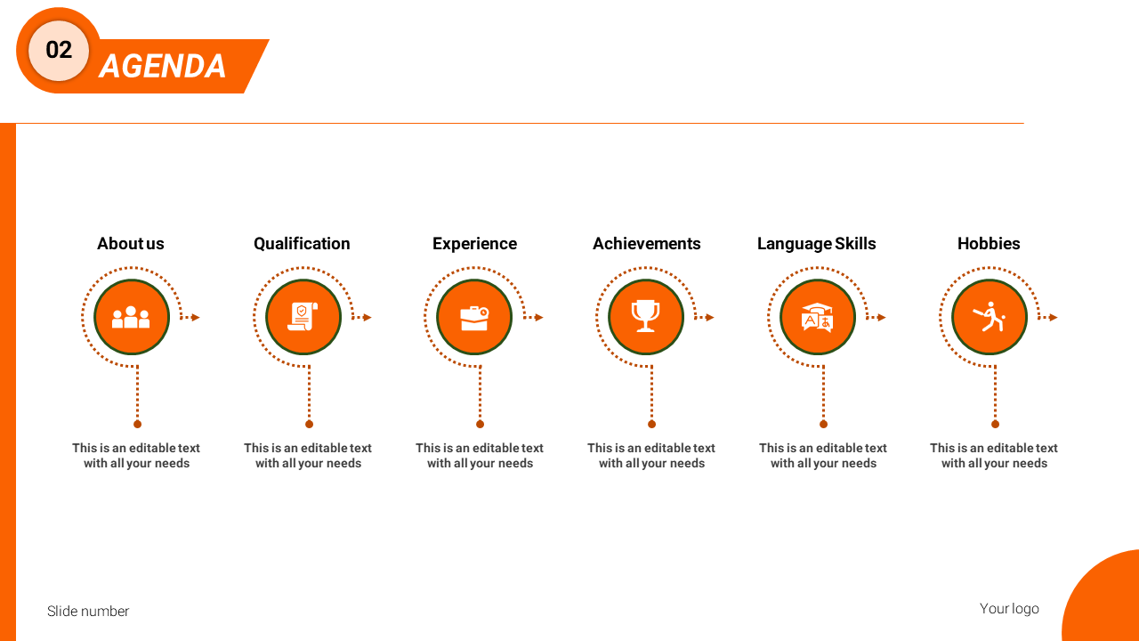 A Six Noded Powerpoint Agenda Slide Template